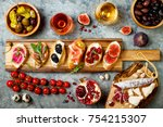 appetizers table with italian... | Shutterstock . vector #754215307