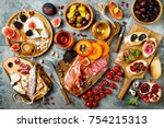 appetizers table with italian...   Shutterstock . vector #754215313