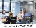 group of a young business... | Shutterstock . vector #754220287