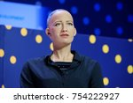 Small photo of Moscow, Russia - October 16, 2017: Sophia humanoid robot speaking Russian at Open Innovations Conference at Skolokovo technopark