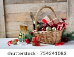 two glasses of champagne with... | Shutterstock . vector #754241083