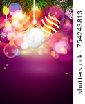 christmas greeting card.... | Shutterstock .eps vector #754243813