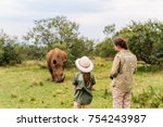 back view of family on safari... | Shutterstock . vector #754243987