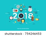 infographic concept 2018 year... | Shutterstock .eps vector #754246453