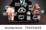 businessman in suit typing with ... | Shutterstock . vector #754252633