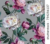 seamless floral pattern.... | Shutterstock . vector #754256137
