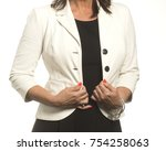 white_jacket female on white... | Shutterstock . vector #754258063