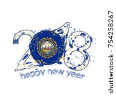 2018 Happy New Year New Hampshire US State  grunge vector template for greeting card, calendars 2018, seasonal flyers, christmas invitations and other.