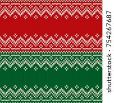 christmas design knitted... | Shutterstock .eps vector #754267687