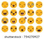 hand drawn vector emoticons... | Shutterstock .eps vector #754270927