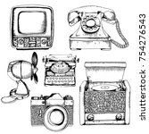 vector set of retro devices.... | Shutterstock .eps vector #754276543