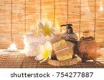 an aroma soap with luffa scrub... | Shutterstock . vector #754277887