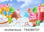 cupcake  gift box. winter sweet ... | Shutterstock .eps vector #754280737