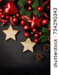 christmas border design on... | Shutterstock . vector #754290343