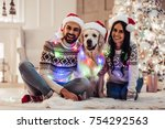 merry christmas and happy new... | Shutterstock . vector #754292563
