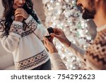 merry christmas and happy new... | Shutterstock . vector #754292623