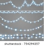 christmas lights isolated on... | Shutterstock .eps vector #754294357