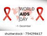 world aids day 1 december. red... | Shutterstock .eps vector #754298617
