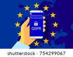 gdpr   general data protection... | Shutterstock .eps vector #754299067