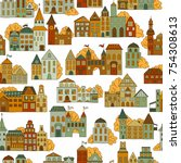 seamless hand drawn pattern... | Shutterstock .eps vector #754308613