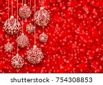 merry christmas and happy new... | Shutterstock .eps vector #754308853
