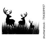 deer family in the grass field   Shutterstock .eps vector #754309957