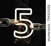 number five on the steel chain... | Shutterstock . vector #754315333