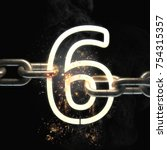number six on the steel chain... | Shutterstock . vector #754315357