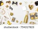 flat lay christmas or party... | Shutterstock . vector #754317823