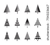 set of black christmas trees... | Shutterstock .eps vector #754323667