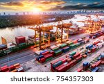 logistics and transportation of ... | Shutterstock . vector #754357303
