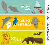 cute animals set anteater... | Shutterstock . vector #754357627