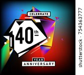 40th years anniversary card... | Shutterstock .eps vector #754363777
