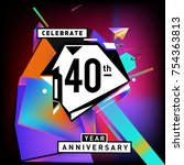 40th years anniversary card... | Shutterstock .eps vector #754363813