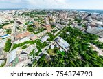 aerial city view with... | Shutterstock . vector #754374793