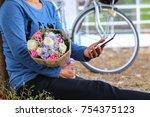 asian girl waiting for... | Shutterstock . vector #754375123