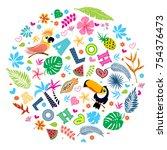 set of tropical elements.... | Shutterstock .eps vector #754376473