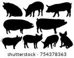 pig pork hog silhouette sets | Shutterstock .eps vector #754378363
