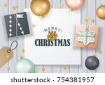 christmas banner design with... | Shutterstock .eps vector #754381957