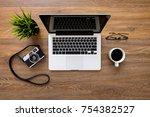 wood photo grapher desk table... | Shutterstock . vector #754382527