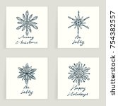 set of four cards. hand drawn... | Shutterstock .eps vector #754382557