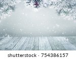 winter background  falling snow ... | Shutterstock . vector #754386157