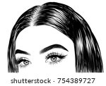 hand drawn girl with silky hair ... | Shutterstock .eps vector #754389727