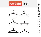 Hangers Vector Black Icons....