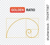 golden ratio spiral. symbol of...   Shutterstock .eps vector #754397587