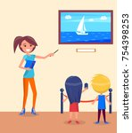 excursion for school children... | Shutterstock .eps vector #754398253