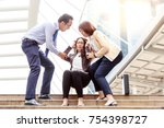 a middle aged business woman is ...   Shutterstock . vector #754398727
