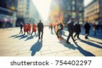 crowd of anonymous people... | Shutterstock . vector #754402297