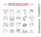 psychology line icons set.... | Shutterstock .eps vector #754409917