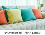 closeup colorful pillows on sofa | Shutterstock . vector #754413883